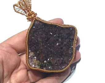 Set In Clay to provide smooth back Pineal Gland Empath Stone Healing #68 Protection Psychic Auralite Cluster Crystal Healing Pendant
