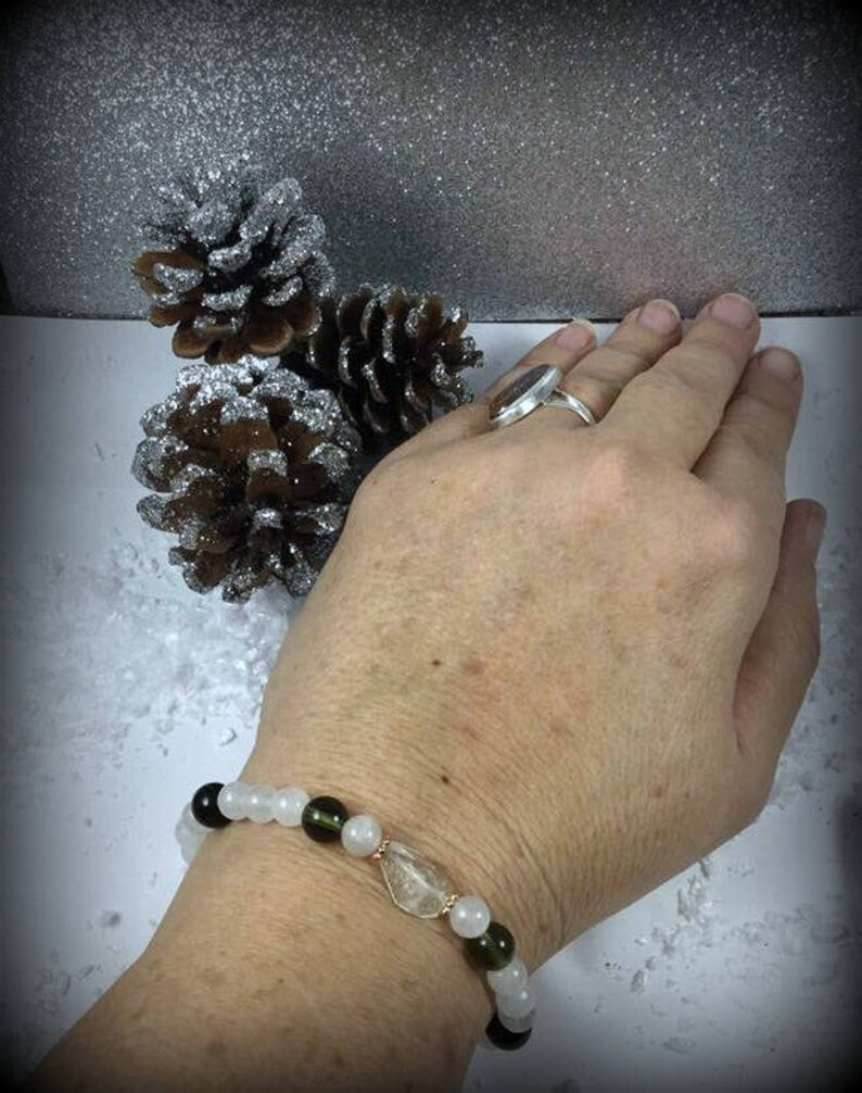 Lybian Glass, Moldavite, Black Tektite, Danburite Crystal Healing Bracelet   Synergy 12 bracelet  Very Rare  Ascension, Telepathy, #71