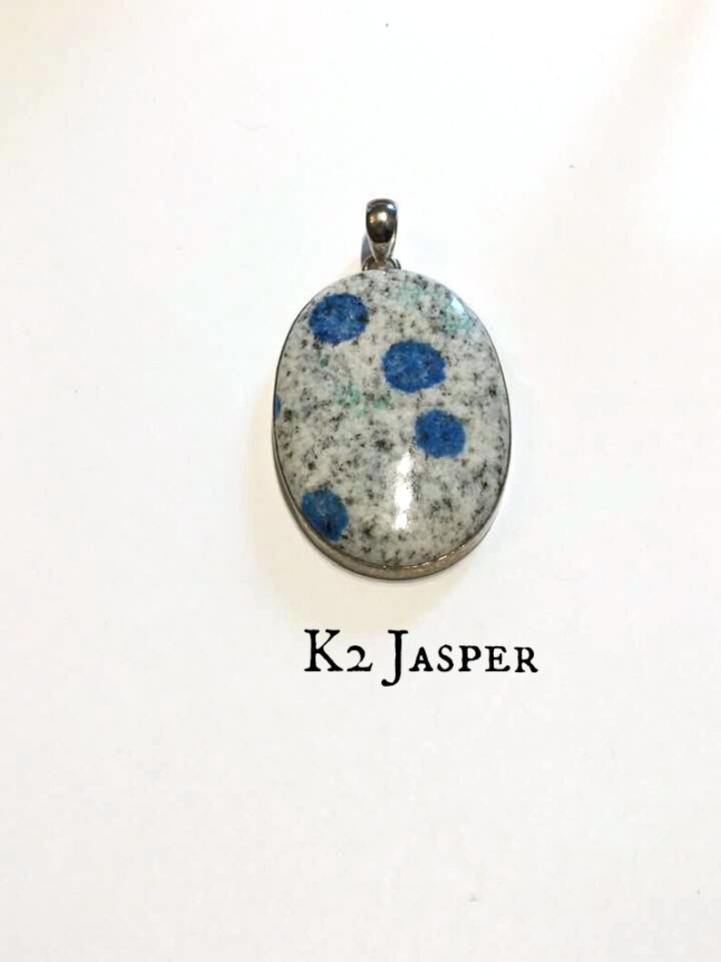 Unisex K2 Jasper Pendant: Silver Pendant Balance Your Energy End Bad Habits of Self Sabotaging #113 Azurite Statement Piece Rare
