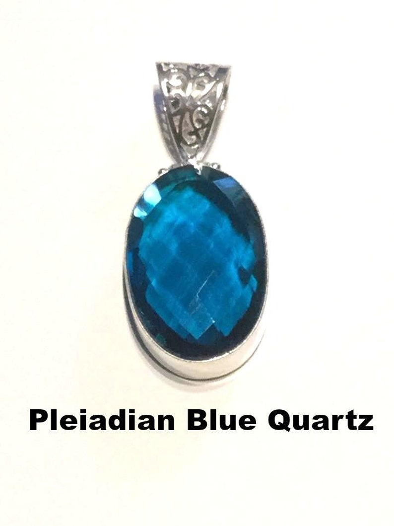 Pleiadian Heart: Blue Quartz Facetted Pendant, Sterling Silver, Blue  Crystal, Statement Piece,Silver Necklace,Starseed, Crystal Healing #639