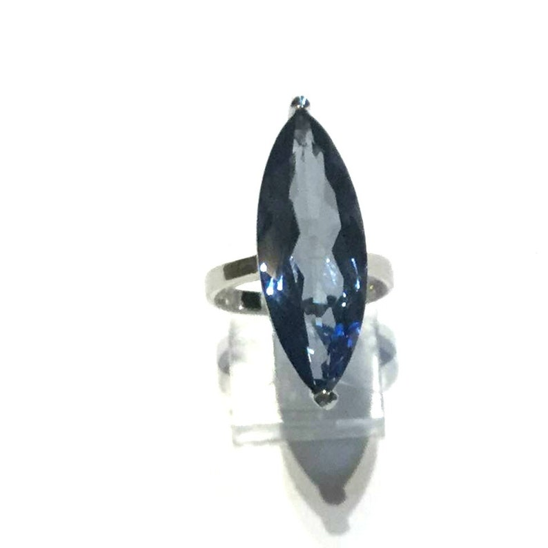 clairvoyance S 6 Statement  #804 telepathy Marquise Silver Ring Iolite Ring Crystal Healing Sterling Silver Ring: unlock psychic gifts