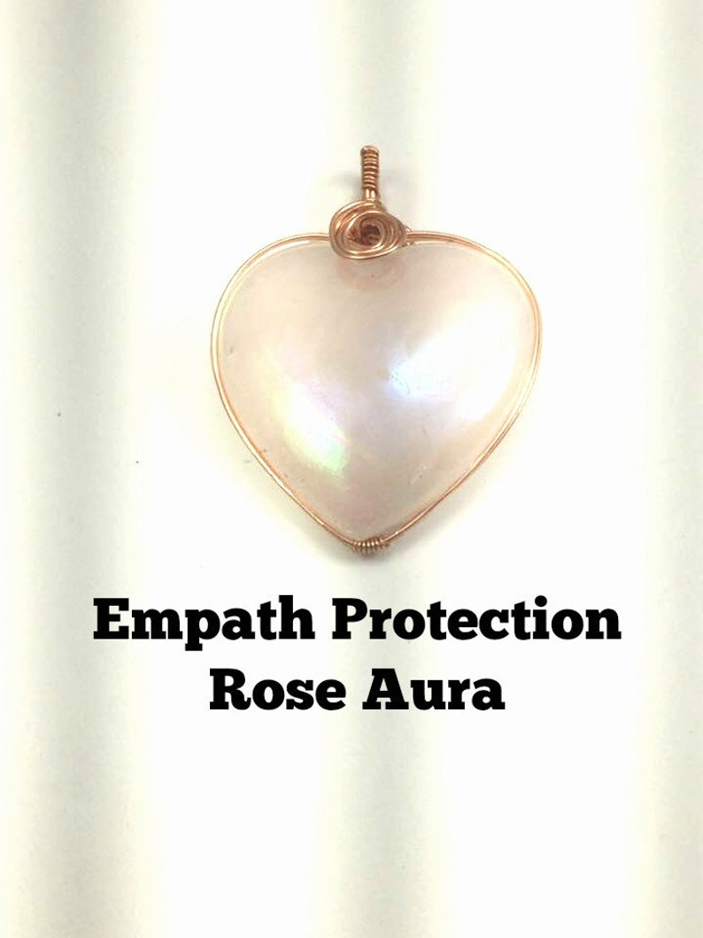 Empath Protection, Healing with Rose Aura Crystal Heart Pendant Wrapped in  Copper: Aids Anxiety, Depression, Clears old relationships #