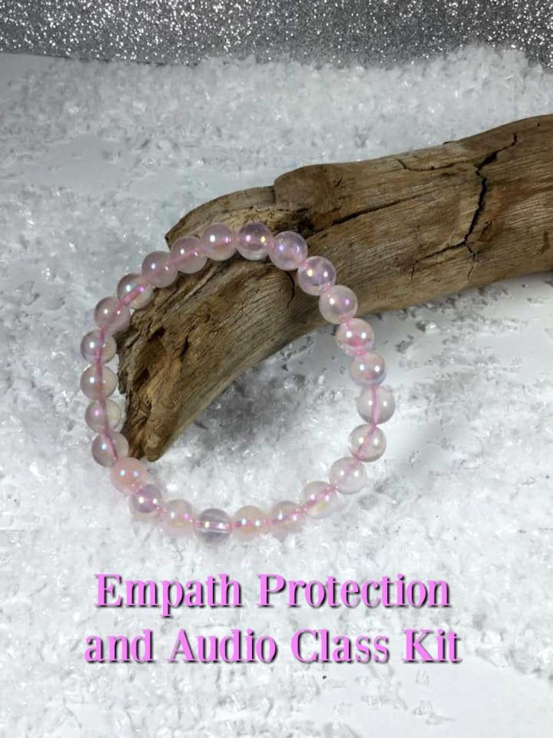 Empath Protection Rose Aura, Healing Bracelet Kit  Includes Audio Class On  Dealing With Being Empathic & Grounding Meditation #322