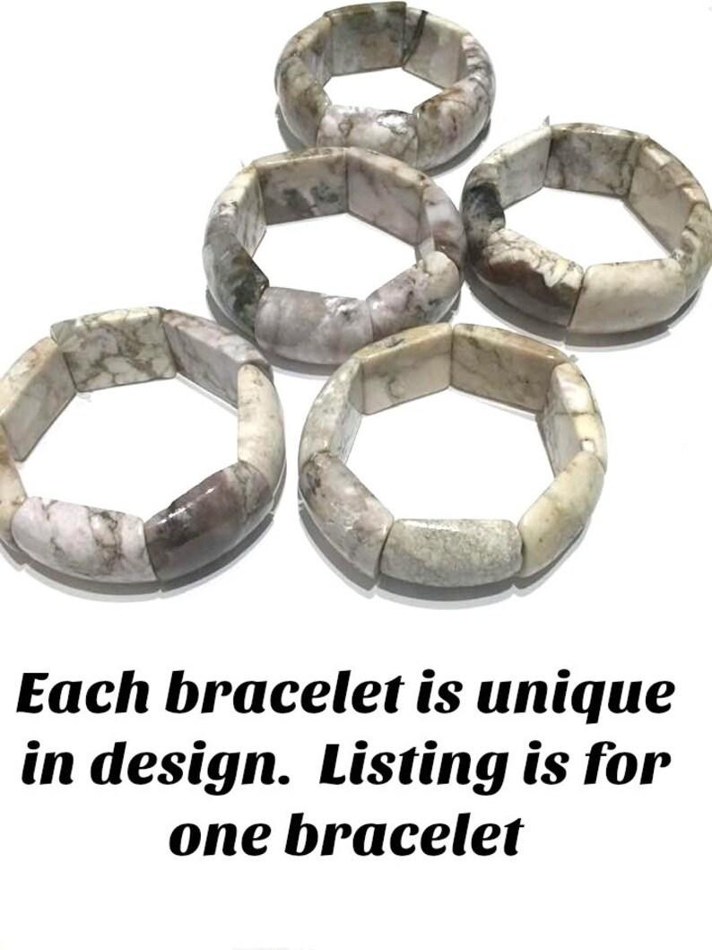 Merlinite Bracelet: Stone of Magic Boho Increase Intuition Bangle  #734 Crystal Healing Reiki Jewelry Yoga Gift Dendritic Opal
