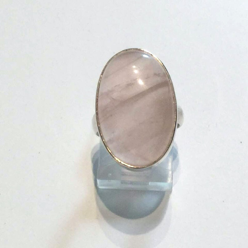 Crystal Healing #122 Silver Ring,Dainty Rose Quarz Ring Solitaire Ring Yoga Jewelry Reiki Ring Empath Jewelry Self Worth Minimalist