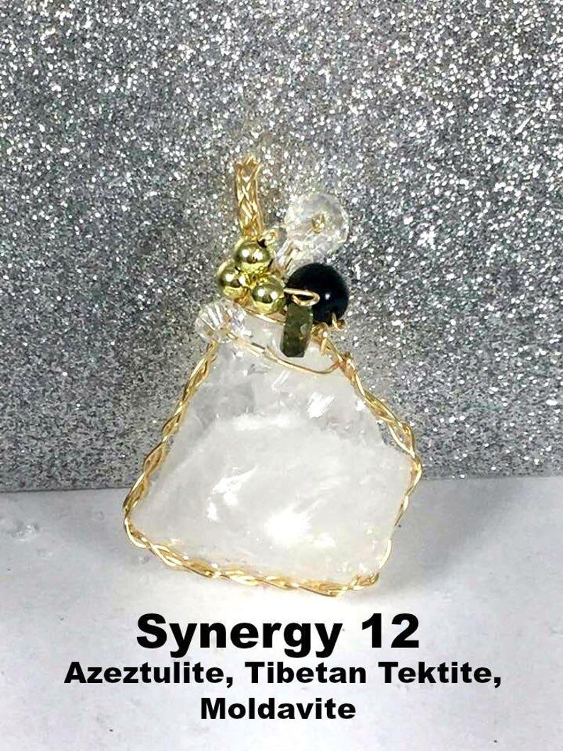 SYNERGY 12 PENDANT  Azeztulite, Moldavite, Tibetan Tektite all in one  Very  rare, spiritual awakening, intuition, protection #359