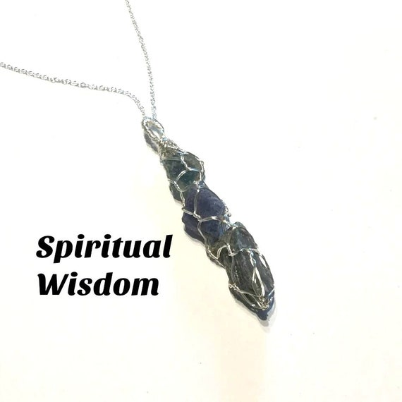 Spiritual Wisdom and Strength #663 Sapphire Raw Crystals Wire Wrapped Crystals Tanzanite Necklace Blue Ray Lazurite Crystal Wand