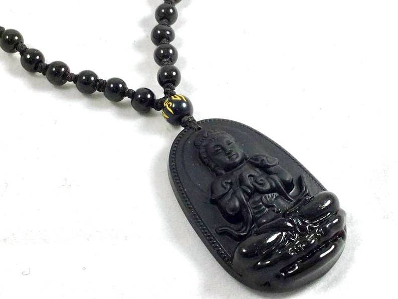 8fc4ab548 Quan Yin Necklace Carved Black Onyx with Black Tourmaline | Etsy