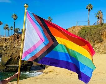 Limited Edition 3'x5'  Digitally Printed Progress Pride Flag *Licensed