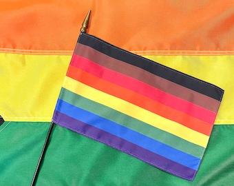 Philadelphia Rainbow Hand Flag - 8''x 12'' Pride Parade Flag