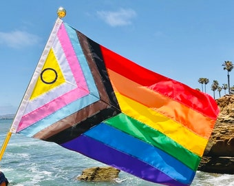 Intersex Inclusive Progress Pride Flag -  Hand Sewn 3'x5'  - Redesigned Rainbow Flag