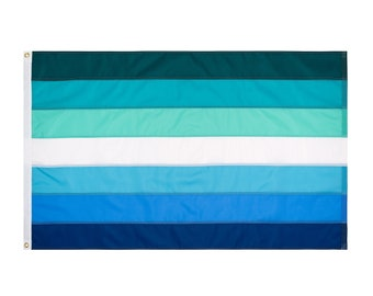 Gay Male Pride Flag, 7-Stripe Gay Male Flag, Shades of Blue and Aqua, Custom Sizes Available