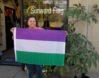 Genderqueer Flag, 2x3 PURPLE, WHITE, GREEN Pride Flag, Nylon, hand-made