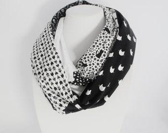 7132d5833b317 Foulard avec des chats   Foulard infini   Foulard patchwork   Foulard noir  et blanc   foulard pour femme   foulard pour adolescente   chats
