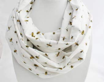 Infinity scarf with  bees, bee scarf, hipster scarf, woman scarf, teen scarf, scarf for summer, bees, white scarf,  teen gift