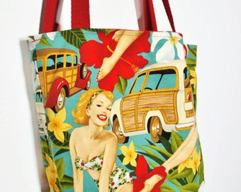 Tote bag Pin-up Aloha from Alexander Henry Fabric, Bag with a vintage retro look and polka dot, bag pin-up, tote bag pin-up