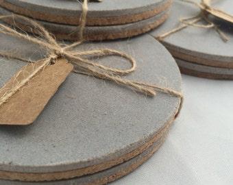 Concrete Coasters Multibuy Discounts Hand Made Round Cork Bottom Resin Concrete