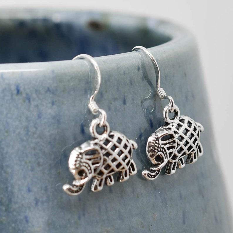 57bbc137f323a Elephant Earrings, Silver Earring, Elephant Jewelry, Charm Earrings,  Bridesmaid Gift, Animal Earring, Bridesmaid Jewelry, Bridesmaid Gift