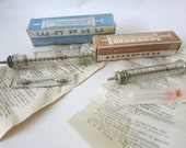 Vintage glass syringe 5 ml original box Russian old new medical supplies with needle