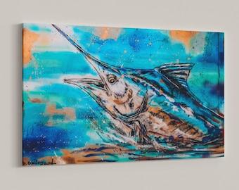 Marlin Swordfish Print Gift Original Design Deep Sea Sport Fishing Fisherman Woman Sport Weekend Nature Outdoors