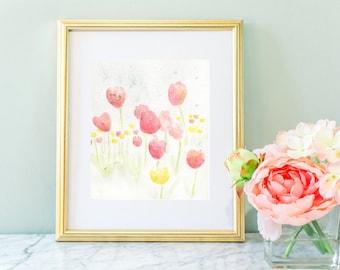 Flower watercolor, watercolor tulips, pink tulips, bed of tulips, nursery art, flower art, watercolor tulips, girl nursery art, 8 x 10