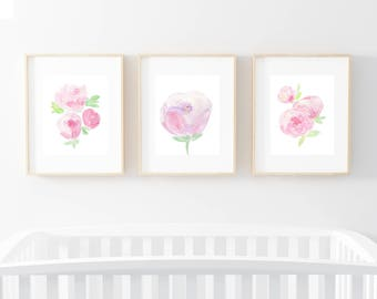 Nursery set, baby wall print, set of three prints, watercolor flowers, peony nursery, peony watercolor, girl nursery, shabby chic nursery, p