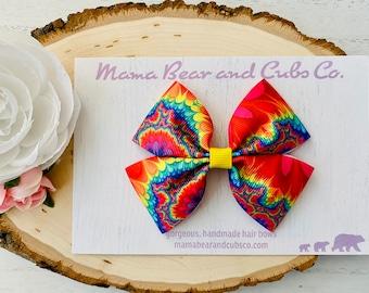 Tie-dye hair bow hippie hair bow 4 inch bow