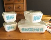 Vintage Pyrex Amish Butterprint refrigerator dishes Complete set Turquoise and White Pyrex 501 - 503