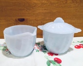 Fire King Blue Swirl Creamer and covered Sugar Bowl set blue milk glass