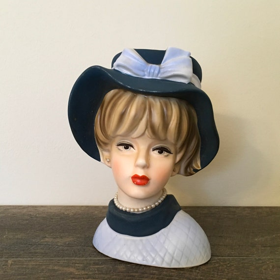 Napco Lady Head Vase Hand Painted Art Pottery Big Hat And Etsy