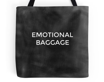 Emotional Baggage Bag, Funny Tote Bag, Canvas Bag, Quote Bag, Black Shoulder Bag, Typography, Sustainable, Geek Gift, Gift for Her, Yoga