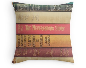 Vintage Books Pillow Case, Book Lovers, Peter Pan, Alice in Wonderland, Book Classics, Couch Pillow, Photo Cushion, Library Decor, Study