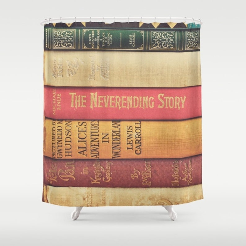 Books Shower Curtain Peter Pan Bathroom Decor Alice In Wonderland Book Lovers Gift For Readers Boho Home Neverending Story