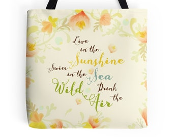Tote Bag, Quote, Emerson, Wild Air, Gift for Her, Boho, Beach Tote, Flowers, Book Bag, Bohemian, Summer, Yellow, Sea, Nature, Inspirational
