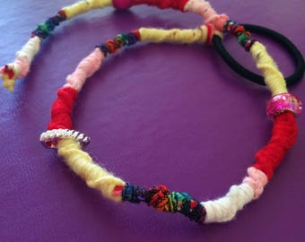 Pink, Yellow and Red Hairwrap