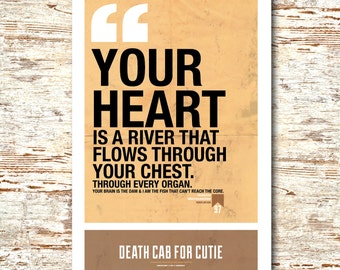 """Death Cab For Cutie- Lyric Quote 11x17"""""""