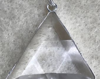 Clear Quartz Vogel Configuration Triangle Pendant w/inclusions