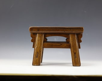 Vintage Chinese Natural Wood Stool Chair miniature DOLL furniture Stone Inlaid