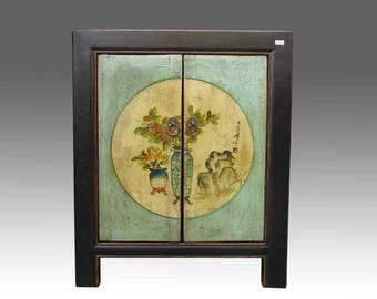 A Chinese Beautiful Black Light Green Cabinet Side Table Flower design Paintings