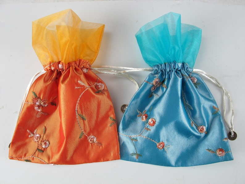 Two Chinese Cloth Embroidery Cloth Bags