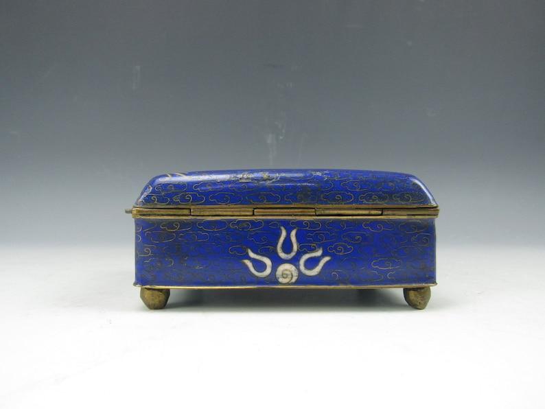 A Chinese White Dragon Blue Cloisonne Box