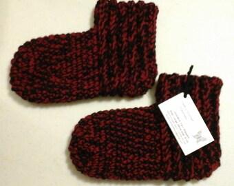Slipper Socks LG Brick Red & Black