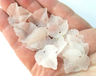 Frosted Acrylic Leaves 20 pcs, 24mm x 23mm Maple Leaf Charms For Bracelets, Acrylic Flower Beads Lucite Beads, Frosted White Acrylic Leaves