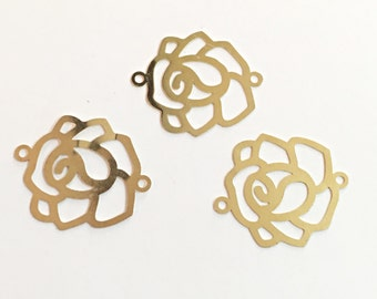 Gold Pendant Findings, Rose Pendants For Jewelry Making 3pcs, Connecting Charm Pendants For Necklaces, gold pendant charms jewelry supplies