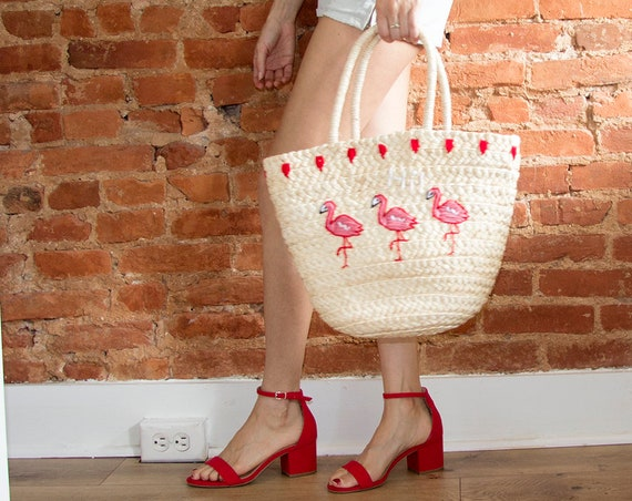 Large Straw Flamingo Beach Bag