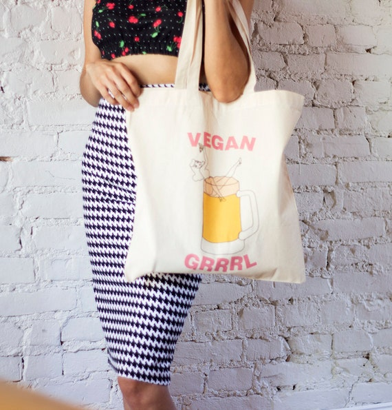 Vegan Pin up Girl Tote Bag