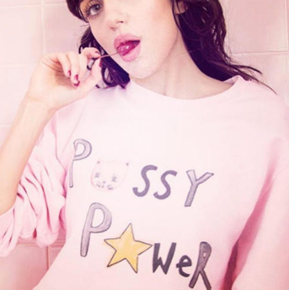Pussy Power, pink sweater, womens right sweater, feminist sweater, girl power sweater