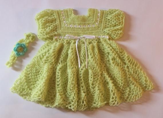 Crochet Bébé Lemon Grass Robe De Bébé Bébé Robe Avec Bandeau 0 3 Mois Bébé Vert Robe Robe Au Crochet Pour Bébés Baby Shower