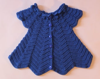 Royal Blue Baby Dress, Crochet Baby Dress with Under Pants, Baby Girl Blue Dress, Blue Crochet Dress, Baby Shower Gift