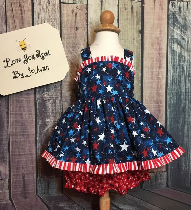 d4d7935d0117d Patriotic pinafore Fourth of July stars and stripes two | Etsy